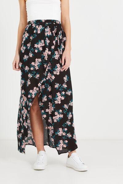 Woven Raya Wrap Maxi Skirt, CHERRY BLOSSOM BLACK