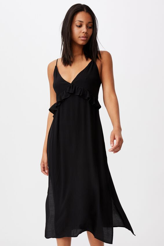 Woven Max Strappy Midi Dress, BLACK