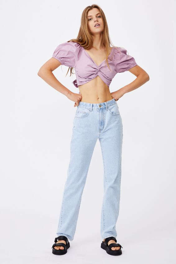 Lola Twist Front Blouse, SOFT MAUVE