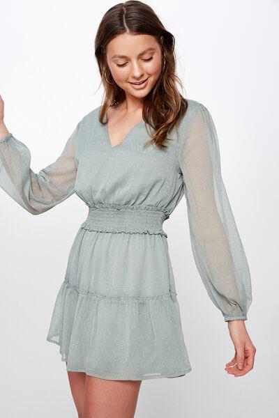 Woven Lexia Long Sleeve Mini Dress, CHARLOTTE SPOT AQUA GREY