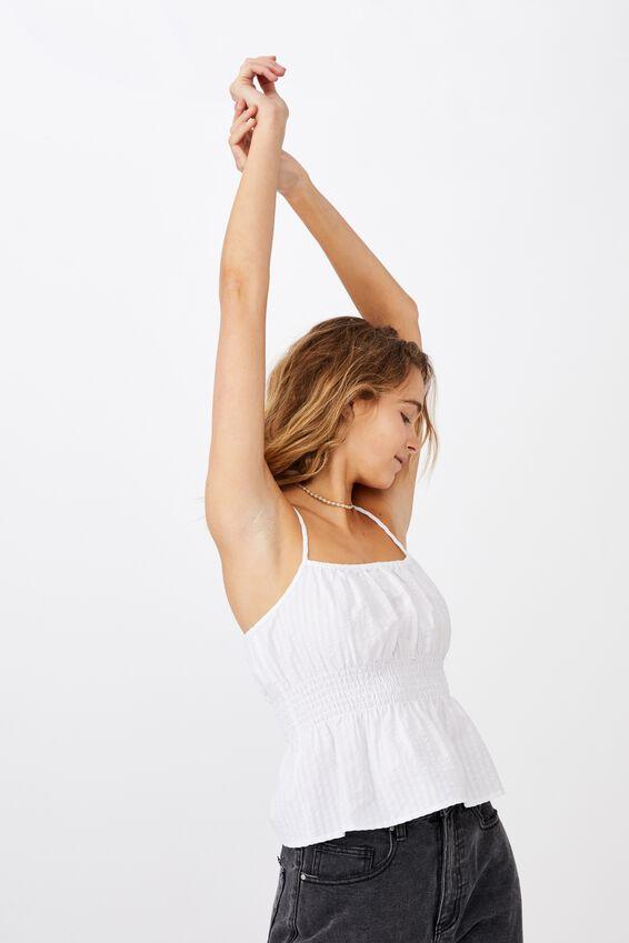 Dakota Shirred Cami, WHITE GINGHAM