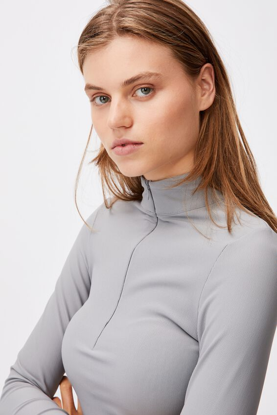 Quinn Quarter Zip Long Sleeve Top, ASH GREY