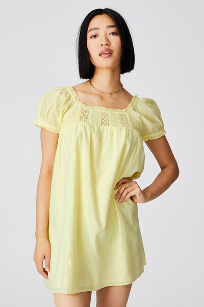 Woven Petite Erica Short Sleeve Mini Tunic, WASABI