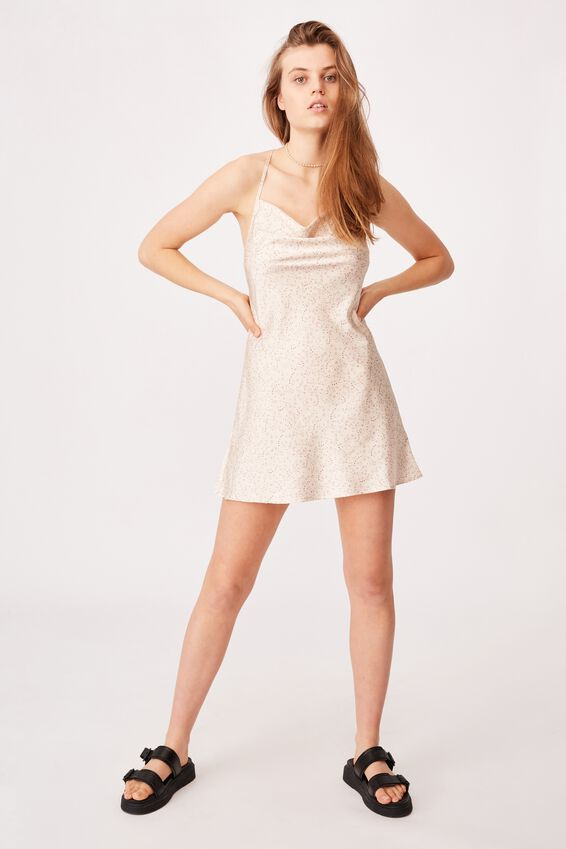 Woven Jemma Mini Slip Dress, NANCY CONFETTI DITSY COCONUT