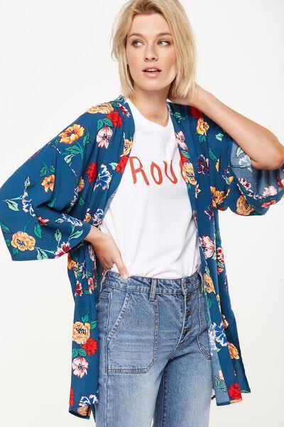 Holly Kimono, LULU FLORAL MOROCCAN BLUE BASE