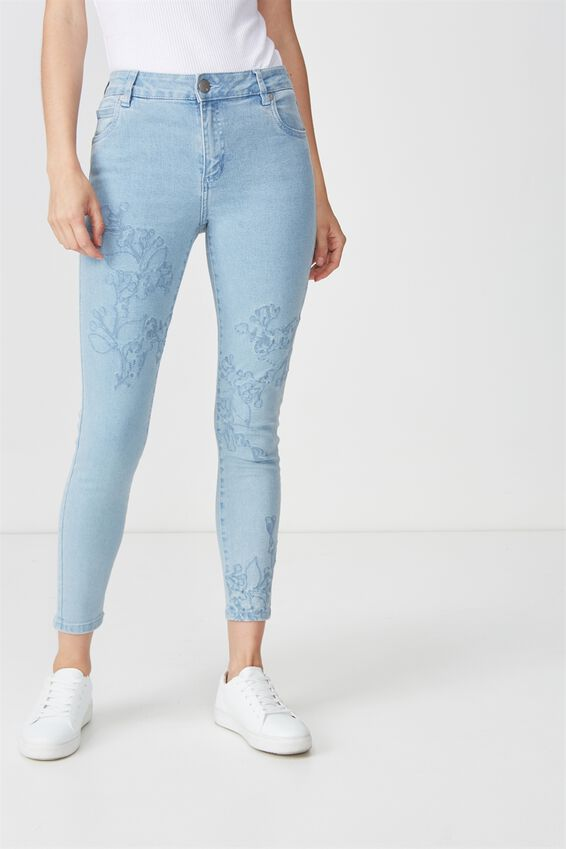 Mid Rise Grazer Skinny Jean 2, LIGHT BLUE EMBROIDERY