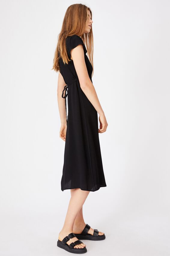 Woven Cleo Tie Back Midi Dress, BLACK