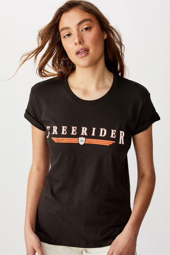 Classic Vintage Inspired T Shirt, FREERIDER/WASHED BLACK