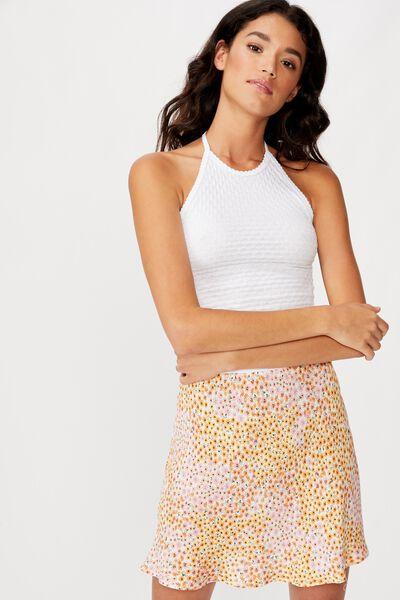 True Bias Mini Skirt, MANDY MULTI DITSY GARDENIA