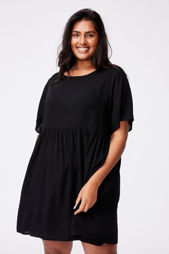 Curve Good Times Babydoll Mini Dress, BLACK