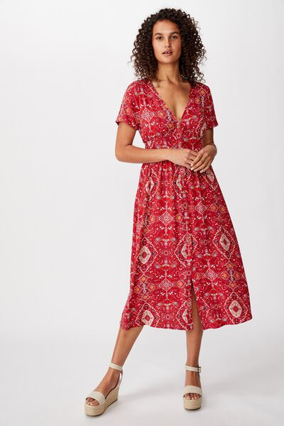 Woven Clover Short Sleeve Midi Dress, SASHA PAISLEY GARNET