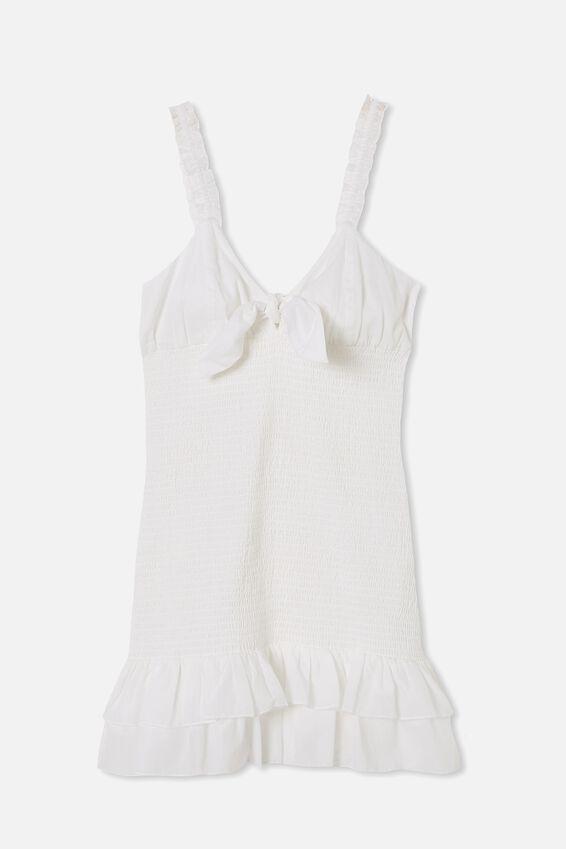 Woven Mia Tie Front Shirred Mini Dress, WHITE