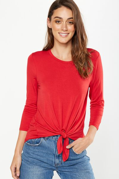 Patricia Knot Front Long Sleeve Top, CHERRY RED