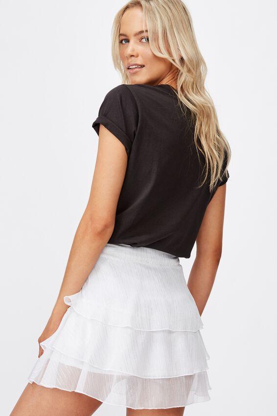Piper Mini Skirt, WHITE LUREX