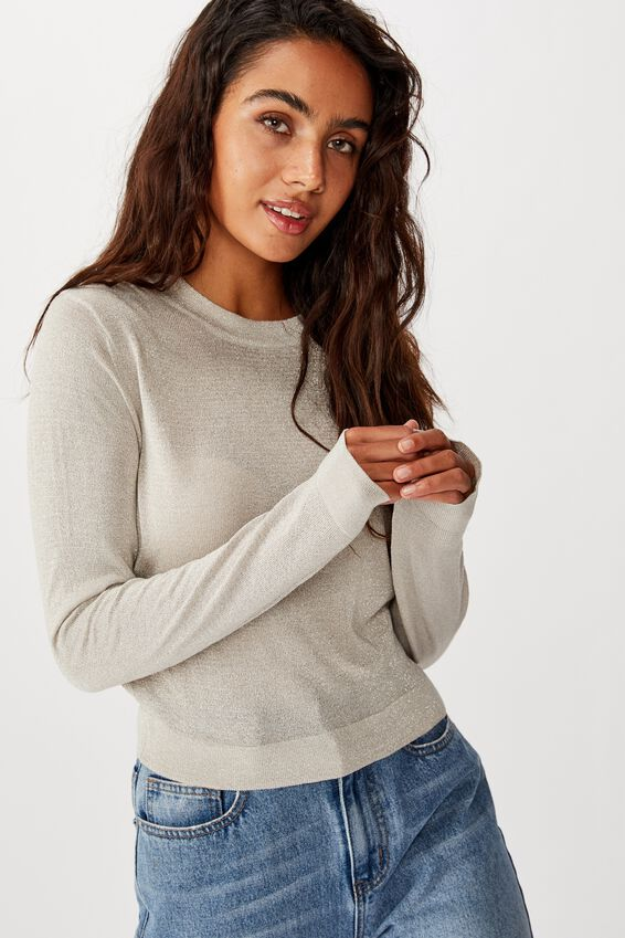 Kylie Cropped Metallic Pullover, CHATEAU GREY