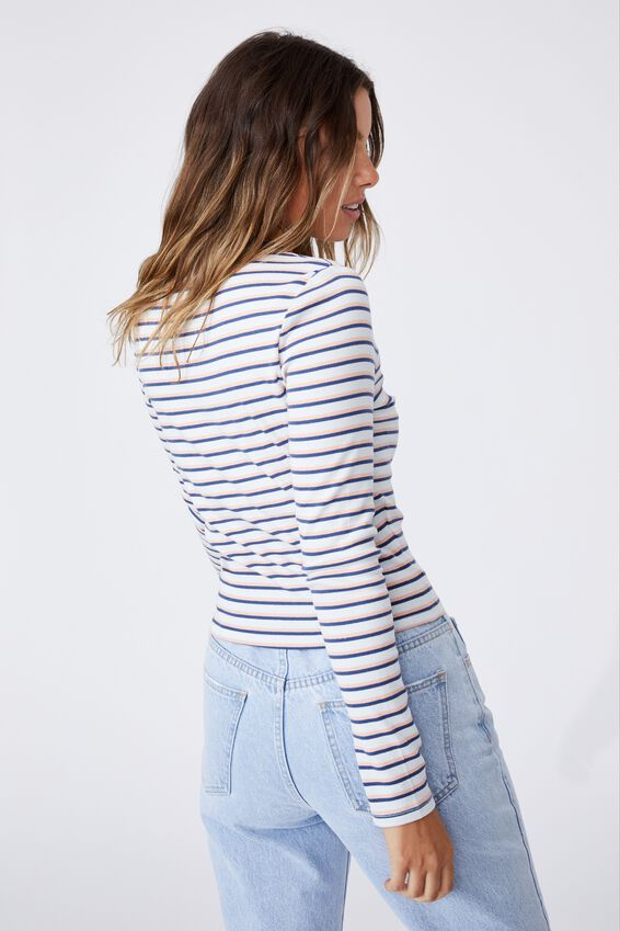 The Turn Back Long Sleeve Top, LUCY STRIPE ILLUSION BLUE/PEACH PALM/COASTAL
