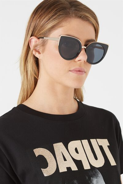 Capri Round Cat Eye Sunglasses, BLACK/BLACK MONO