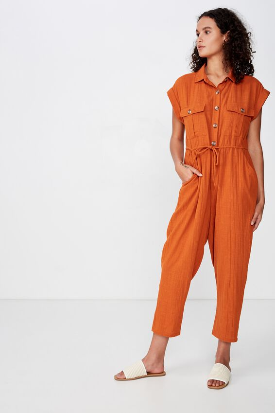 Woven Isabella Utility Jumpsuit, RUST TAN