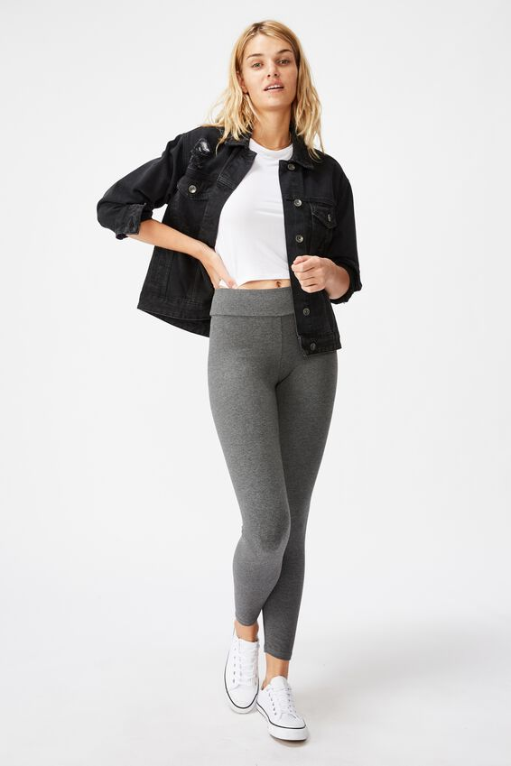 High Waisted Dylan Legging, CHARCOAL MARLE