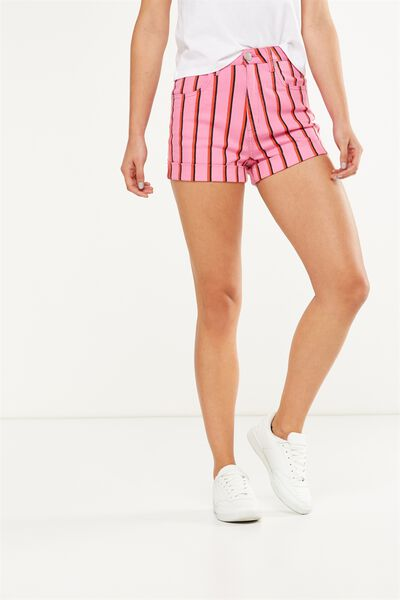 High Rise Classic Stretch Denim Short, LACY STRIPE SUPER PINK