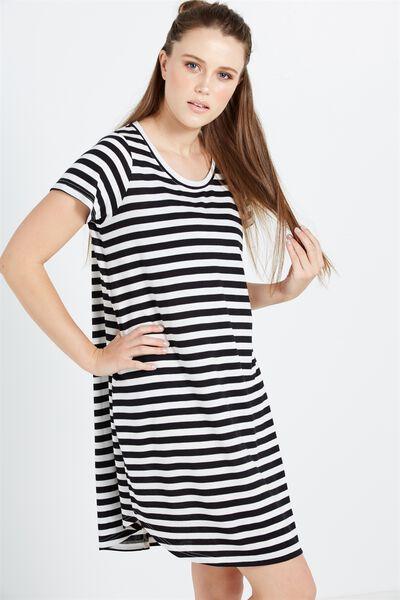 Tina Tshirt Dress 2, LISSY STRIPE BLACK/GARDENIA