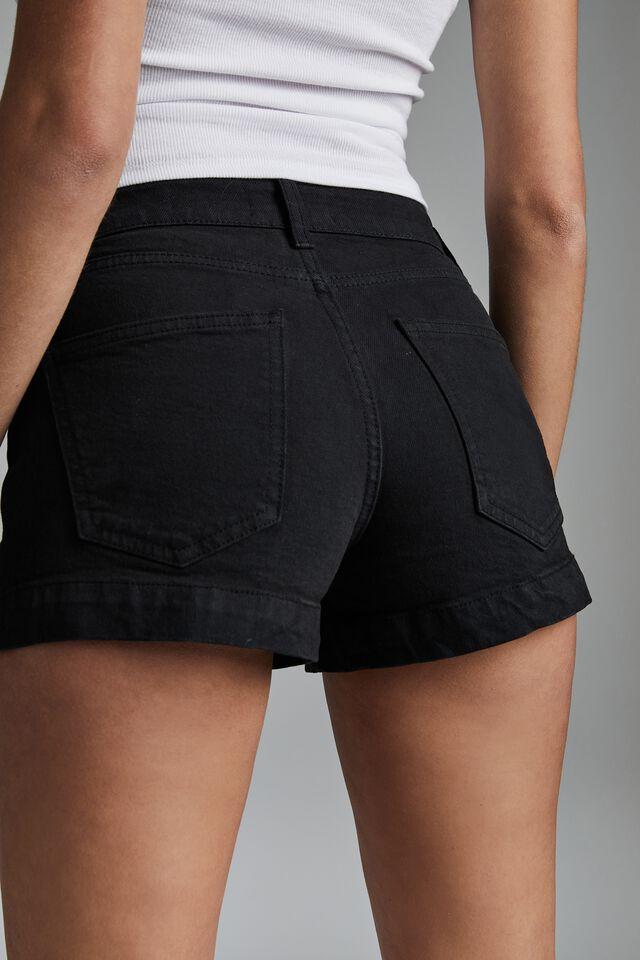 Mid Rise Classic Stretch Denim Short, NEW BLACK