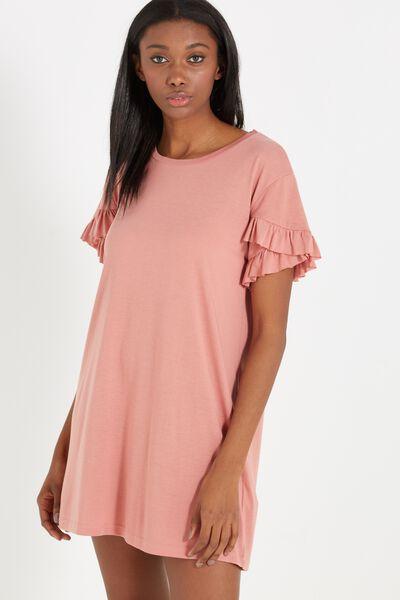 Hattie Ruffle Tshirt Dress, BLUSH