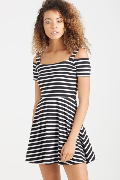 Addie Strappy Cold Shoulder Fit N Flare, BLACK/WHITE 2 THIRD STRIPE