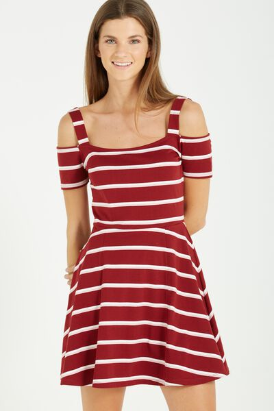Addie Strappy Cold Shoulder Fit N Flare, GARNET/COSMETIC PINK/WHITE JOY STRIPE