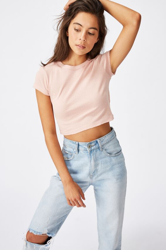 The Baby Sister Pointelle Tee, MISTY ROSE