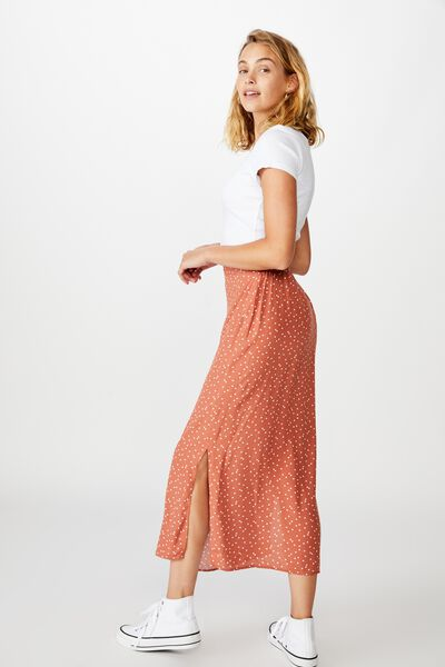 90S Slip Skirt, DAISY SPOT DUSTY BROWN