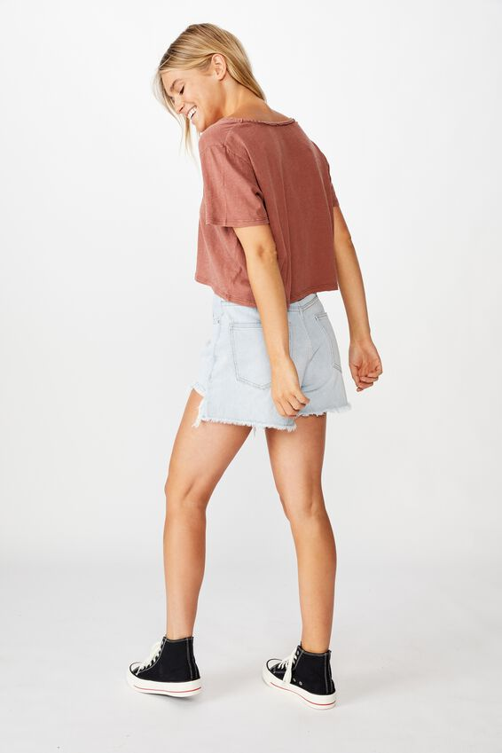 Boxy Lace Trim Tee, WASHED CHUTNEY