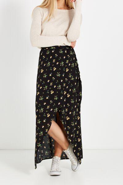 Woven Raya Wrap Maxi Skirt, OXFORD FLORAL BLACK