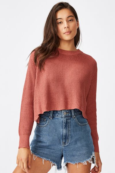 Archy Cropped 2 Pullover, CANYON ROSE MARSALA TWIST