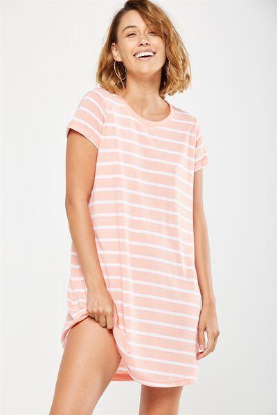 Tina Tshirt Dress 2, PEACH BUD/WHITE MARIA STRIPE