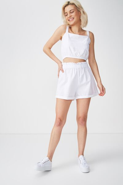 Maisy Paperbag Short, WHITE