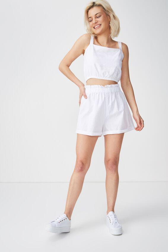 Maisy Paperbag Short, WHITE