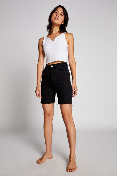 High Stretch Denim Bermuda Short, WASHED BLACK