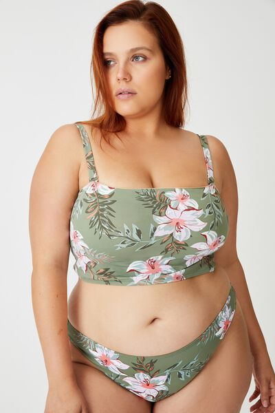 Curve Longline Bandeau Bikini Top, TROPICAL COOL AVOCADO