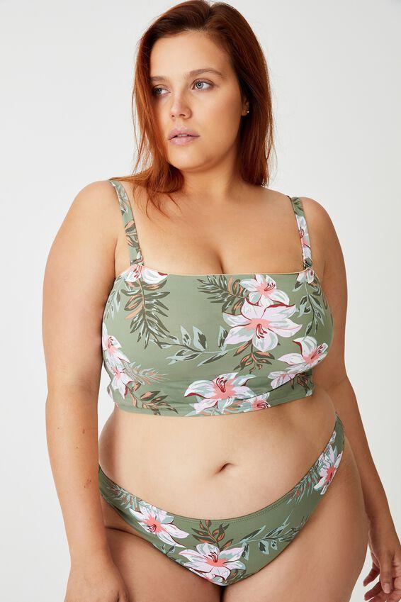 Curve Longline Bandeau Bikini Top, TROPICAL COOL AVOCADO