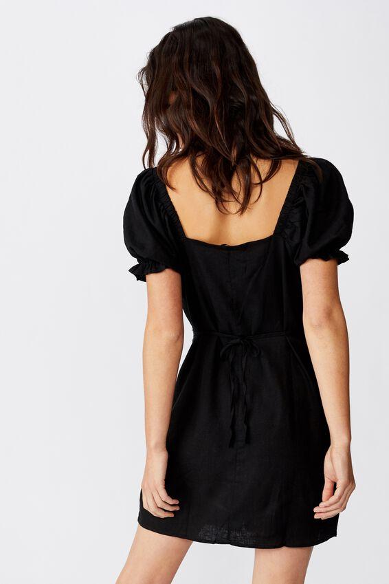 Woven Aurora Short Sleeve Mini Dress, BLACK