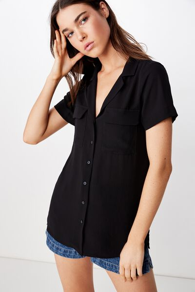 Riley Sheer Shirt, BLACK