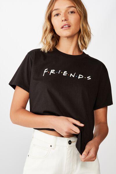 Classic Friends T Shirt, LCN WB FRIENDS LOGO BLACK