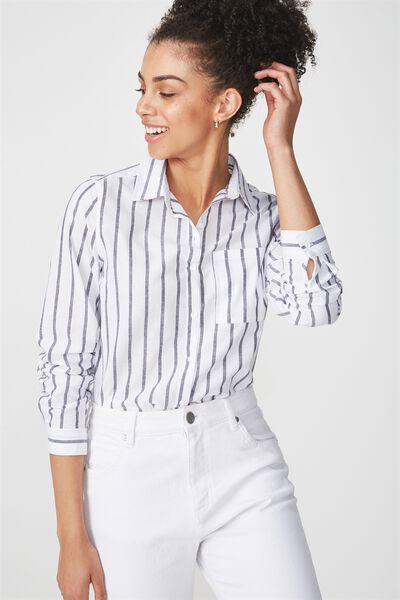 Casual Steph Shirt, ARLO STRIPE WHITE