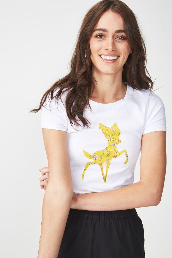 Tbar Hero Graphic T Shirt, LCN BAMBI HARRIET FLORAL SILHOUETTE/WHITE