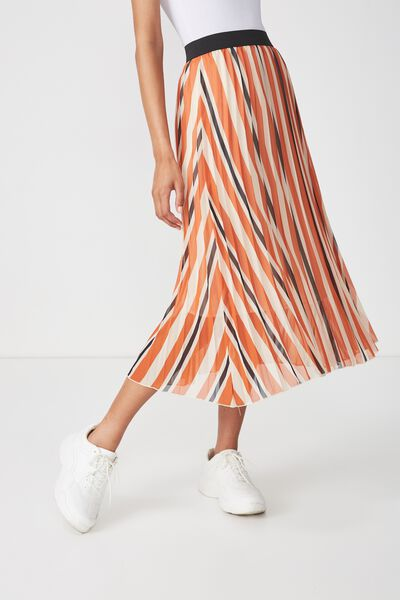 Woven Daria Pleated Midi Skirt, DAISY STRIPE PUMPKIN