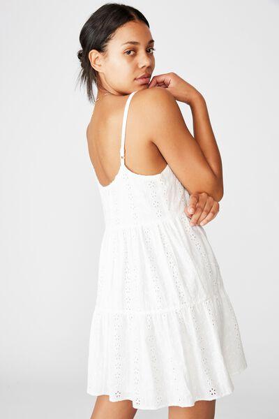 Woven Betty Tiered Mini Dress, WHITE