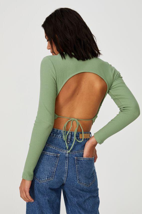 Open Back Rib Long Sleeve Top, PISTACHIO