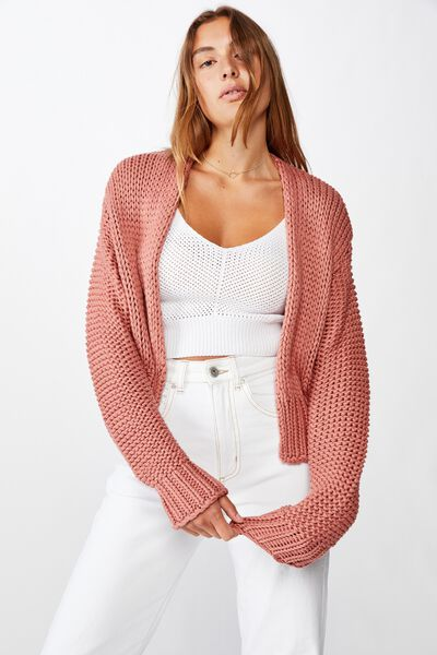 Chunky Cropped Cardi, OLD ROSE