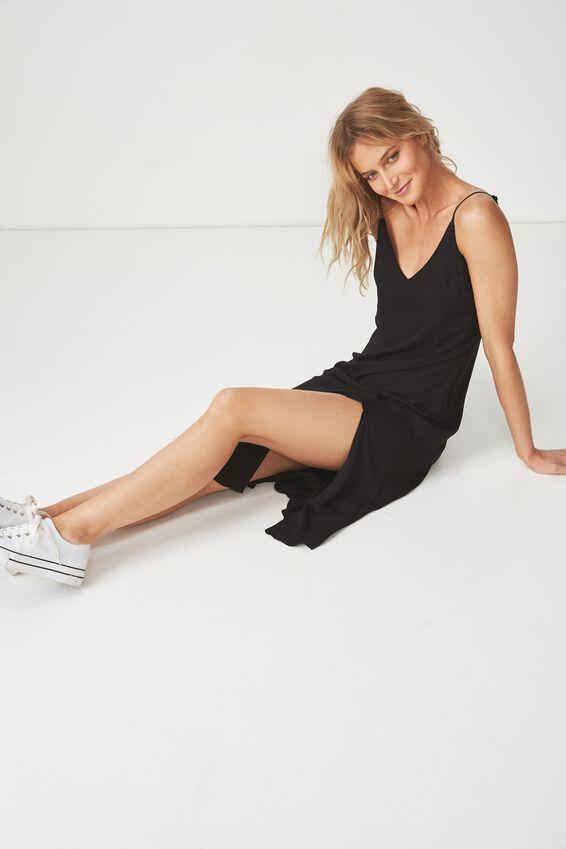 Woven Bloom Maxi Slip Dress, BLACK